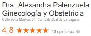 Puntuación opiniones Alexandra Palenzuela Ginecóloga