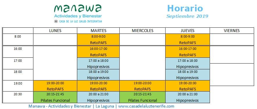 Horarios actividades semanales